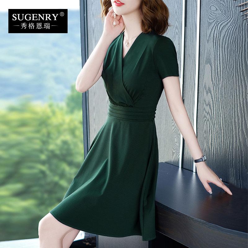 夏季2020新款连衣裙墨绿色短袖显瘦大码开v领赫本风小黑裙子女装