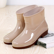 Rain boots, women's low tube, anti slip men's rain boots, short tube and floss water shoes, men's and women's fashion shoes, working shoes, medium tube waterproof shoes.