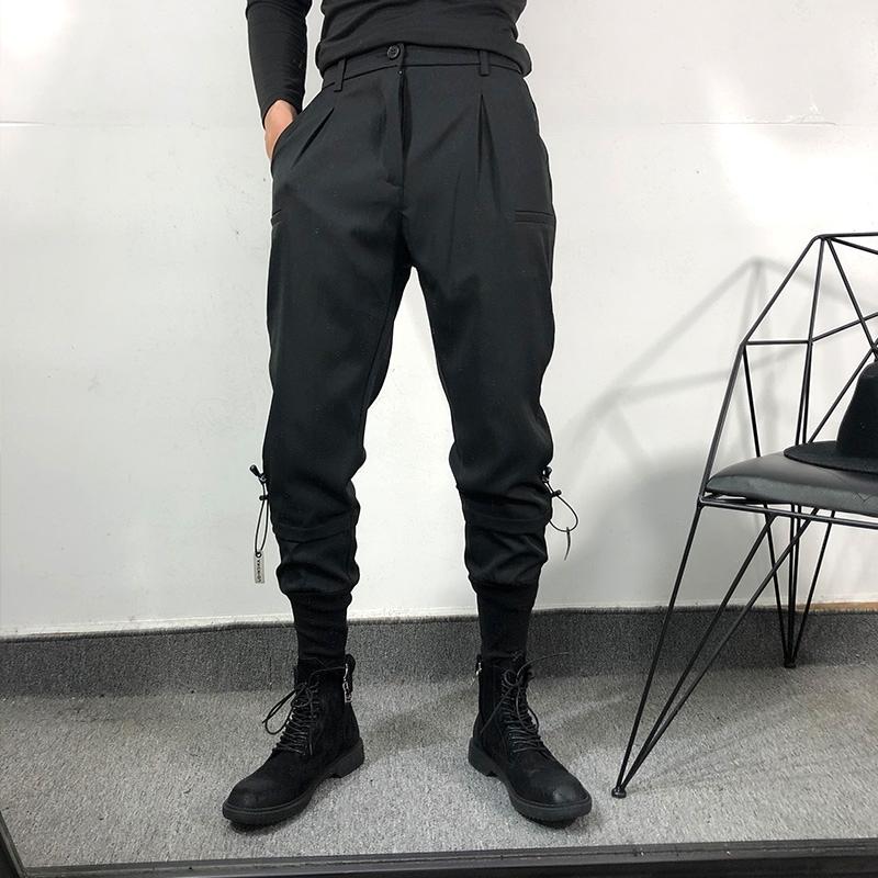 原创潮男街头风潮牌宽松拼接工装束脚裤暗黑系简约收口运动卫裤