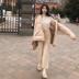 范智乔 纯色chic复古系带麻花纹理针织裤百搭宽松九分阔腿裤女