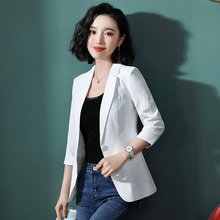 Spring and Summer of 2019 New Net Red Small Suit Coat Women's Leisure Baitao Sleeve Sleeve White Suit Top