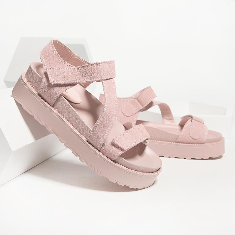 七九一鹿新款真皮仙女风凉鞋女ins潮网红松糕厚底沙滩chic罗马鞋