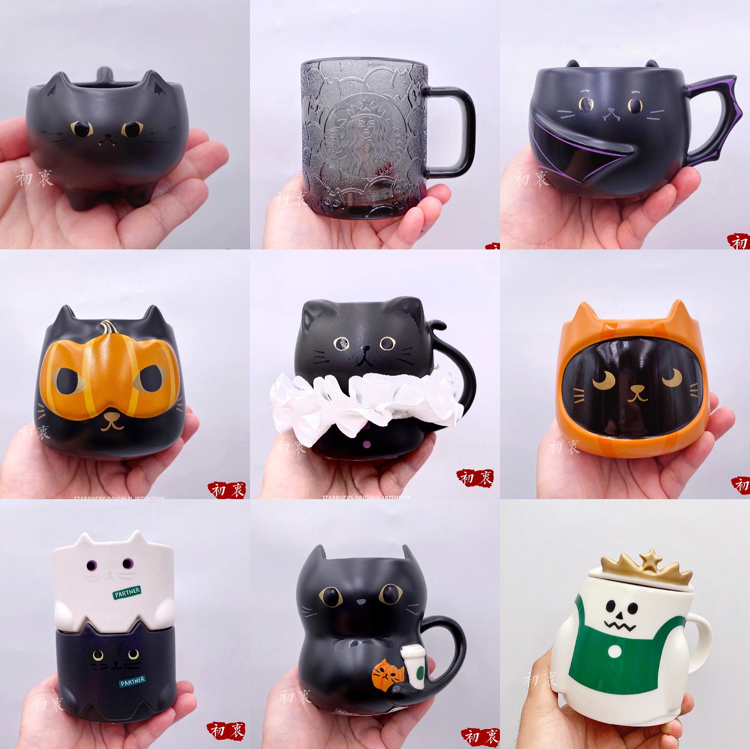 星巴克杯子2020耶誕禮物臺灣日本香港黑貓捉迷藏附蓋陶瓷馬克杯