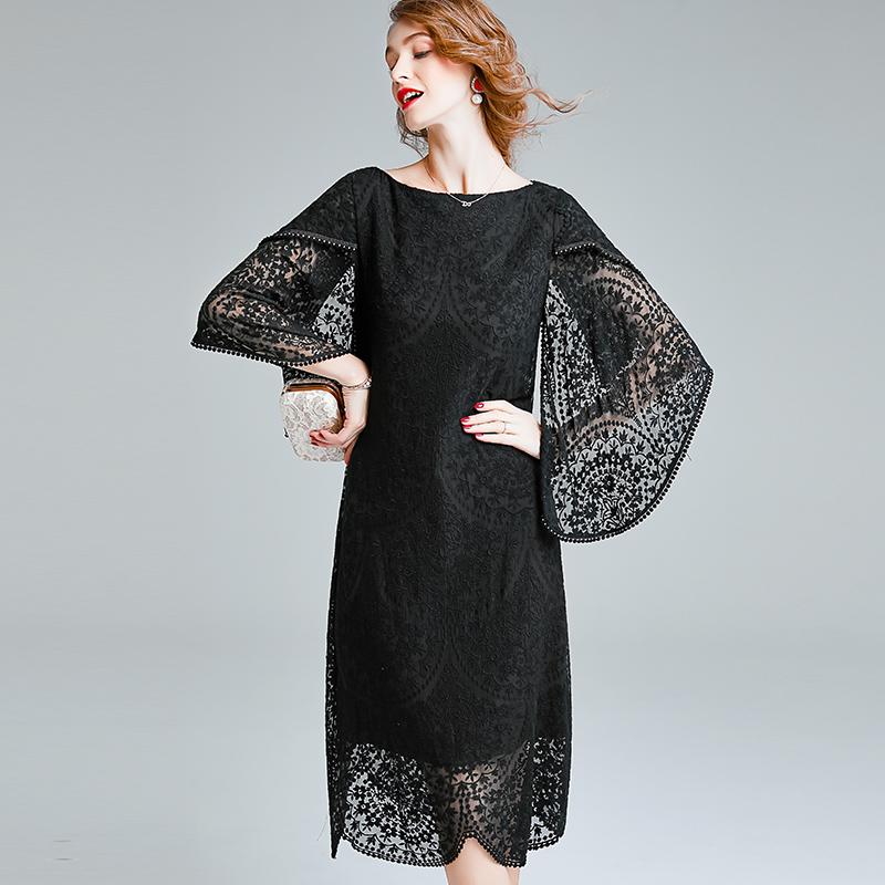 一字肩桑蠶絲重磅真絲連衣裙女蝙蝠袖秋冬季不規則刺繡蕾絲包臀裙