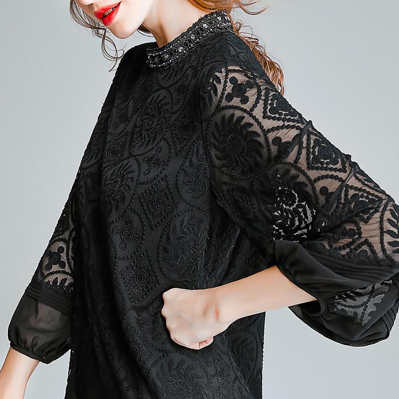 重磅真絲連衣裙桑蠶絲女春夏裝新款杭州絲綢典雅氣質繡花蕾絲裙子