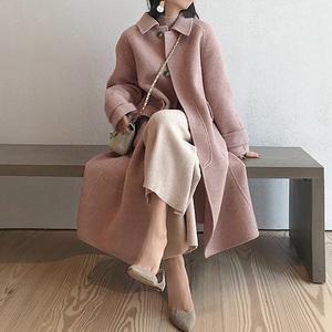 粉色毛呢大衣女中长款冬装2019年新款宽松加厚过膝长款呢子外套冬