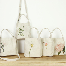 Originally one-shoulder bag cotton and hemp literature and art RETRO small fresh flower Sen canvas oblique across Bucket Bag Handbag