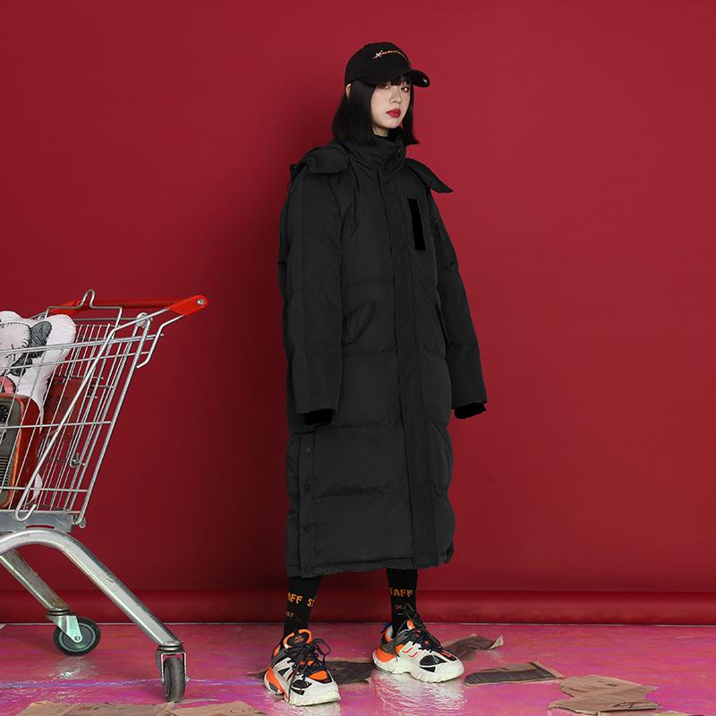 韓版過膝羽絨棉服女2019冬季新款中長款棉衣寬松外套保暖時尚冬裝