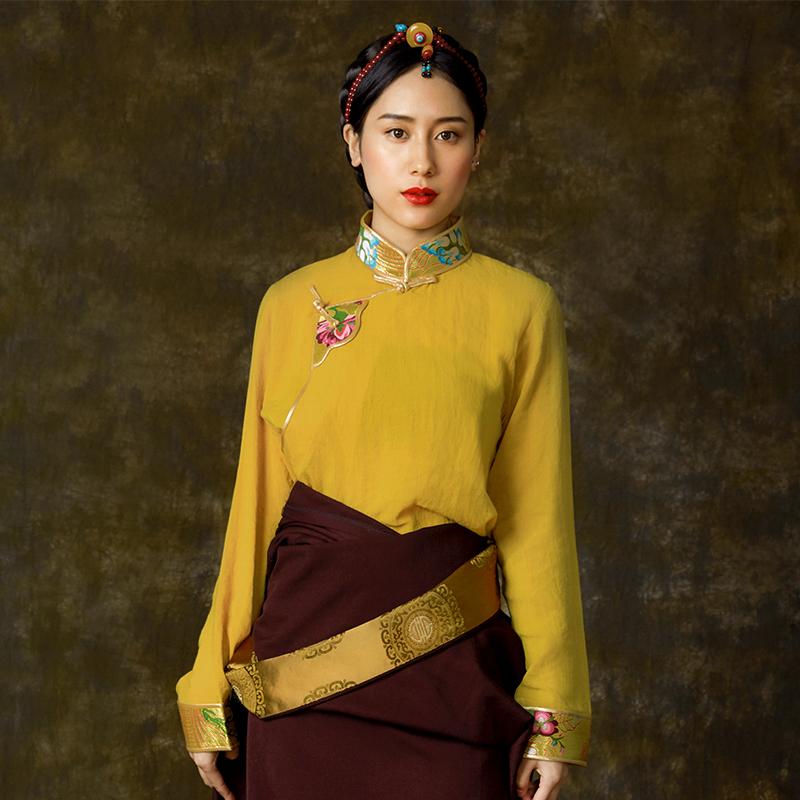 西藏藏风  姜黄色白色衬衣藏装女 古装上衣藏族衣服女 民族风春秋