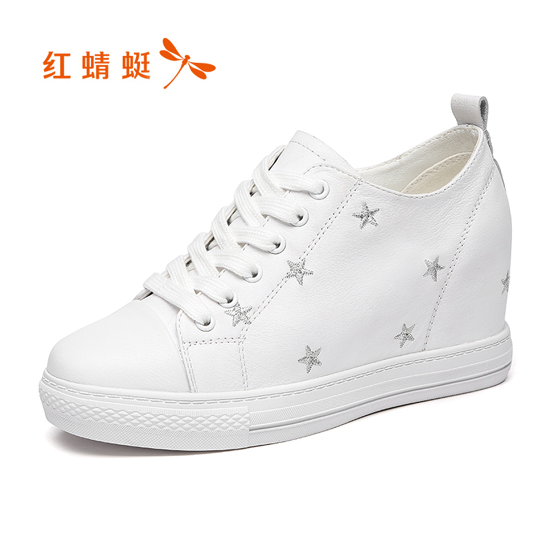 Red girl shoes fall 2562 new leather Korean Style Hidden Heels small white shoes students hundred Casual shoesSneaker