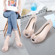 Summer 2019 Melissa xjmeilissa's new bow-tied light-mouthed fish-mouth sloping heel jelly shoes
