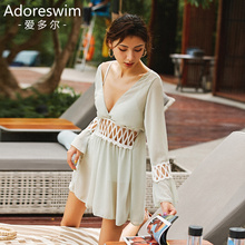 Ador Korean ins style conservative belly-shading sexy slim fairy model skirt split swimming suit three-piece suit for women