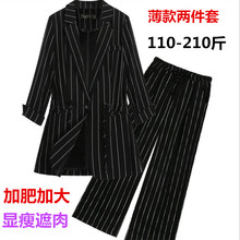 Summer 2009 Large-Size Stripe Leisure Suit 200 kg Fat mm Korean Seven-Sleeve Sunscreen Thin Coat Tide