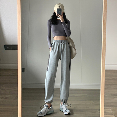 taobao agent Gray sports pants women's summer loose feet spring and autumn thin section 2021 new wide-leg high-waist Harlan casual pants