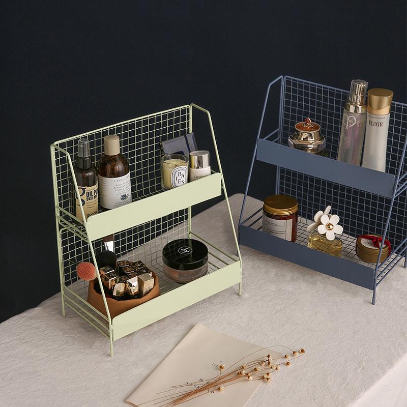 桌面化妝品置物架鐵藝護膚品收納盒網紅ins整理梳妝臺書桌上少女