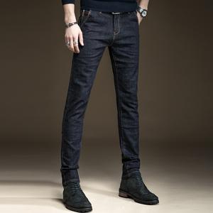 高端春季黑色牛仔裤男修身小脚潮牌男士春秋款韩版潮流休闲长裤子