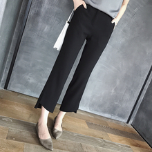 Korean Spring and Summer 2019 New Type Open Flared Trousers Women's High-waist Leisure Suit Pants Nine-minute Straight Cylinder Broad-legged Trousers Women