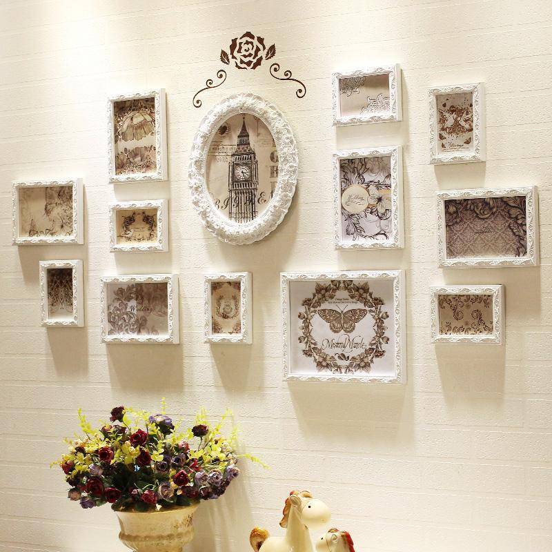 歐式實木照片墻簡約現代客廳裝飾相片背景墻創意連體組合相框掛墻