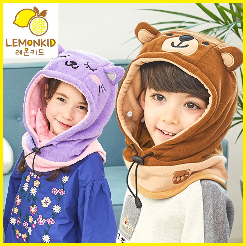 八儿童帽子秋冬保暖加绒围巾二件套装宝宝帽子围巾针织毛线帽护耳