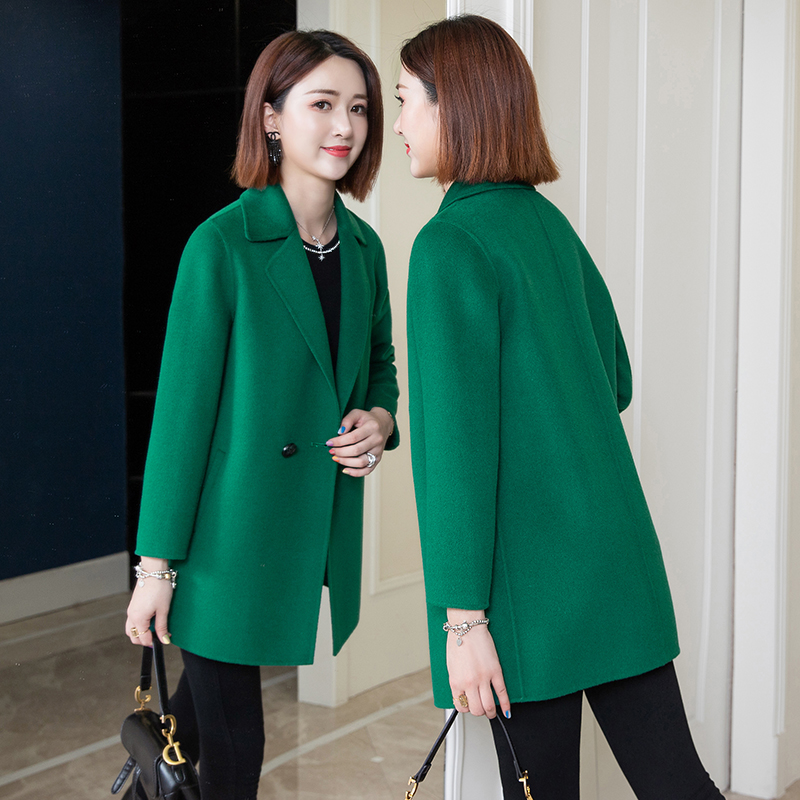 雙面羊絨大衣女中長款2020新款秋冬綠色小個子100%羊毛呢外套反季