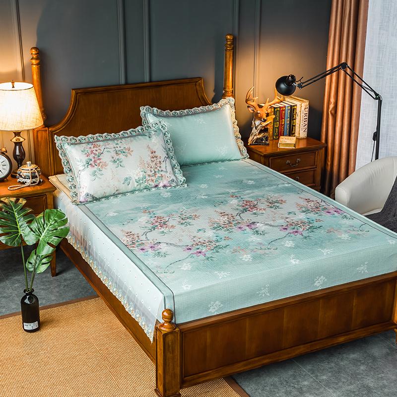 Băng lụa mềm mat 1,8m giường ba mảnh có thể giặt gấp 1,5 mét giường mùa hè lily mùa hè mat - Thảm mùa hè