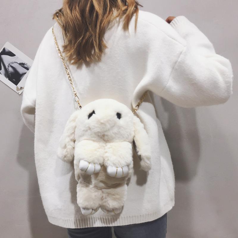 卡通小包包女包新款2019可爱少女兔子包毛绒纯色链条单肩斜挎包潮