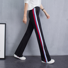 Jinmian women's trousers with long legs and new stripes in the summer of 2019, slim sports and leisure fashion micro-trumpet broad-legged trousers