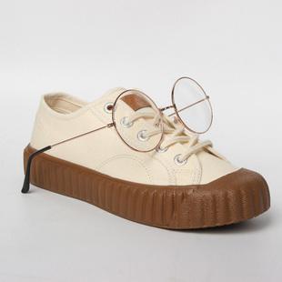 飞跃摩卡棕色饼干鞋女泫雅风学生帆布鞋韩版低帮JK风板鞋ins8326