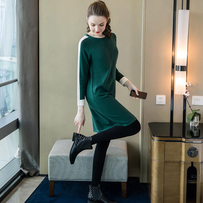 奢姿2019秋季新款大码女装时尚显瘦撞色拼接针织连衣裙显瘦减龄