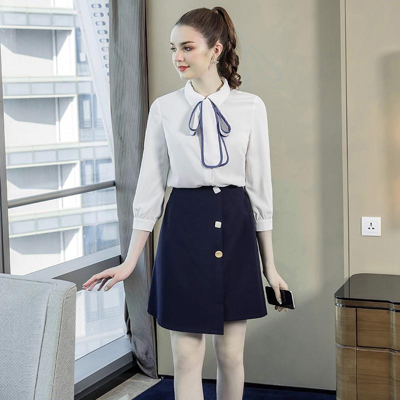 奢姿2020春装新款大码女装时尚不规则裙子胖mm绑带上衣休闲套装潮