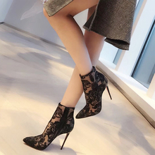European and American Sexy Screen Shoes Women Spring and Autumn 2019 New Martin Boots Transparent Ankle Boots Black Tip Stilettos