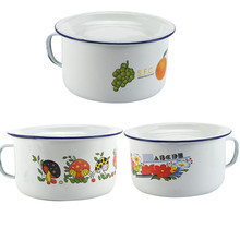 Old-fashioned enamel cup lunch box for students with lid nostalgic enamel foam cup fast food box lunch bowl enamel bowl