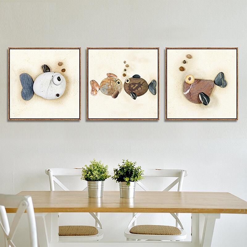 餐廳裝飾畫客廳魚現代簡約掛畫臥室三聯畫沙發背景墻壁石頭免打孔