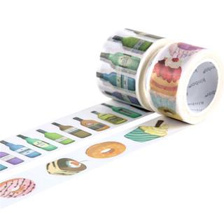 kinbor创意和纸胶带彩色装饰贴纸美纹纸手帐工具酒鬼   甜甜地吃