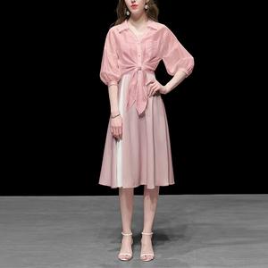 粉色棉麻衬衫短款宽松衬衣潮百搭休闲防晒衫女装春装2021新款