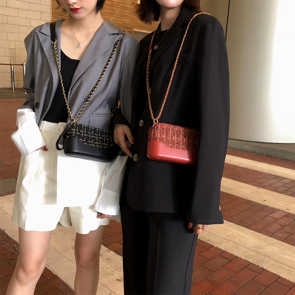 LOSEA 小香风呢子流浪包2019新款时尚女包单肩包斜挎包迷你小包包