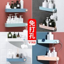 Toilet rack wall-mounted bathroom rack free punching toilet suction wall wash Table Bathroom storage triangle