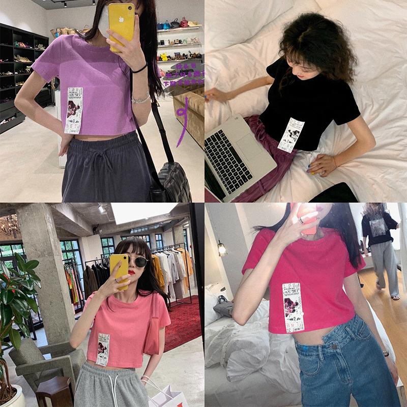 张贝贝ibell韩版心机设计感潮高腰短袖t恤女2020年新款香芋紫上衣