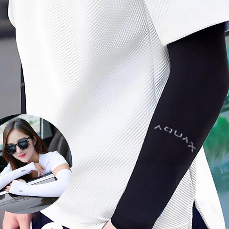 冰丝袖套防晒女骑行手套暗黑男袖套超薄酷穿指防紫外线夏天手臂套