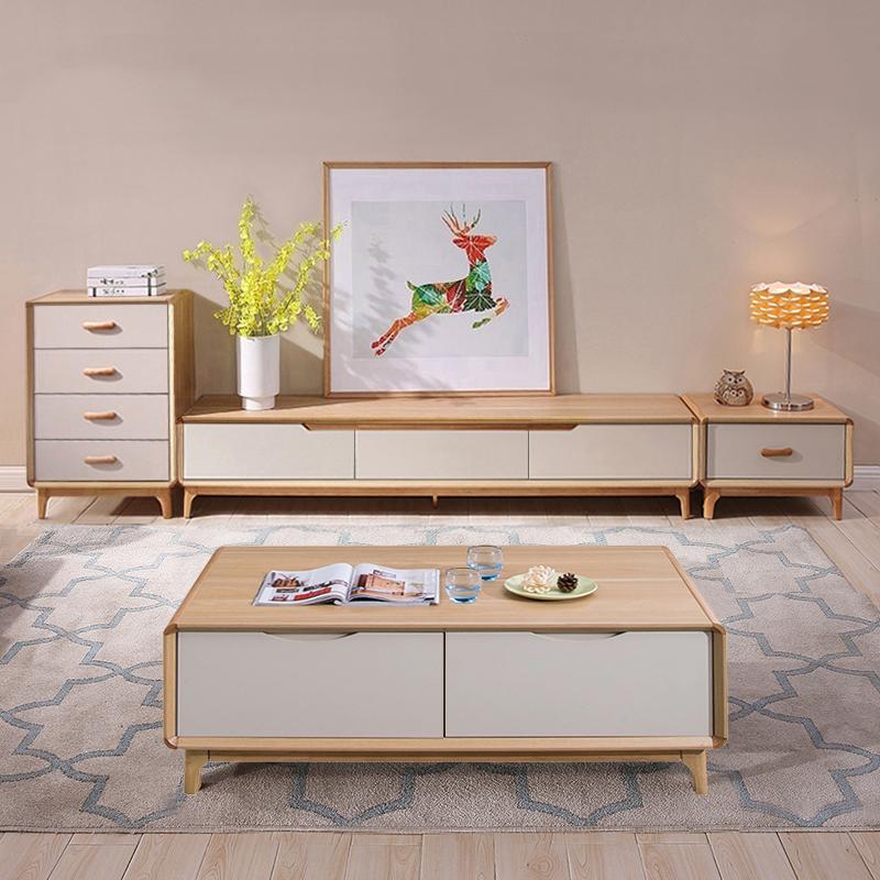 北欧风电视柜茶几组合现代简约小户型客厅家具日式原木色电视机柜
