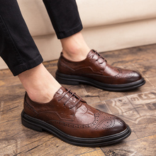 Men's leather shoes Korean version of Block Men's shoes Trendy shoes British business dress casual shoes Men's summer breathability
