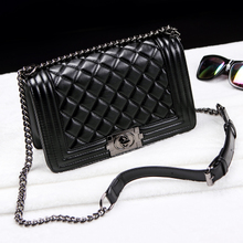 Hong Kong Genuine Baggage Girls New Style Small Fragrance Ling Chain Baggage Genuine Leather Single Shoulder Slant Handbag