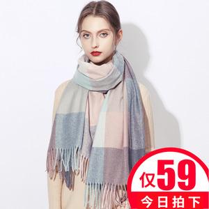 上海故事格子围巾女士英伦经典百搭2019年好新款仿羊毛羊绒秋冬季
