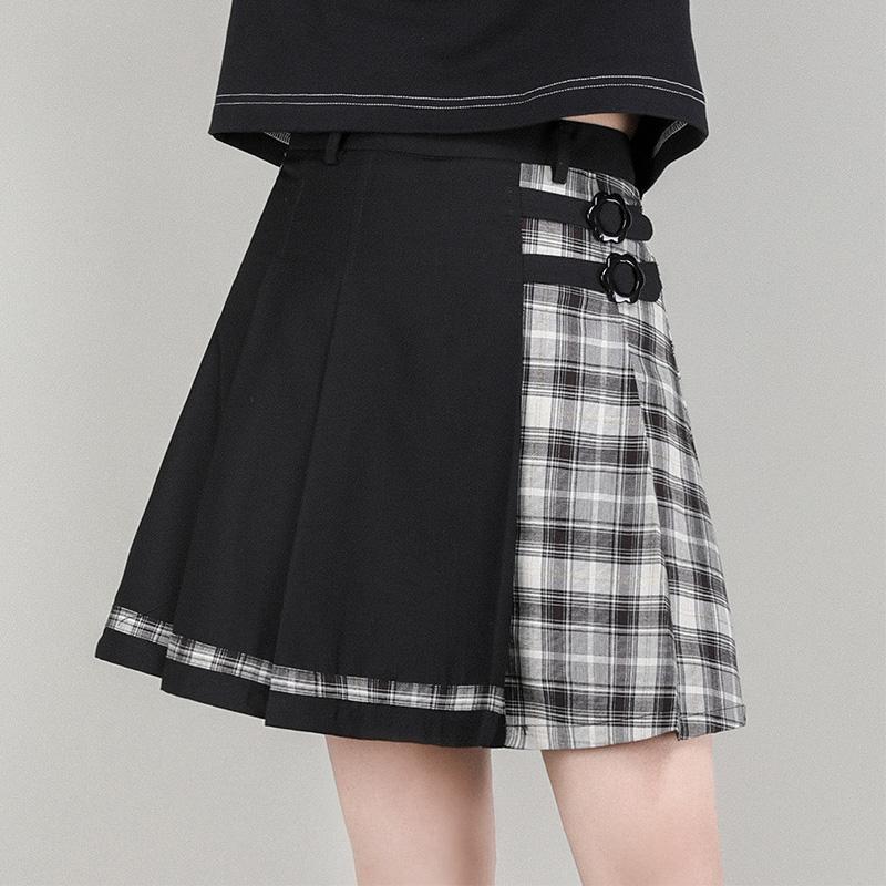 小葱良裁原创格纹半身裙女2021夏季高腰显瘦不对称拼接黑色短裙