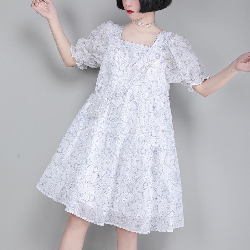小葱良裁原创泡泡袖拼接连衣裙女夏季宽松显瘦法式复古方领a字裙
