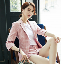 Small suit jacket, women's shorts suit, net red spring and summer suit, thin Korean version, casual pink checked short suit