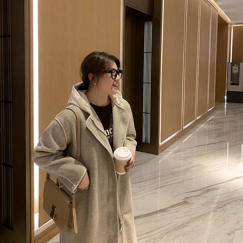 小俪自制大码冬装女胖MM毛呢外套女韩版宽松中长款连帽双面呢大衣