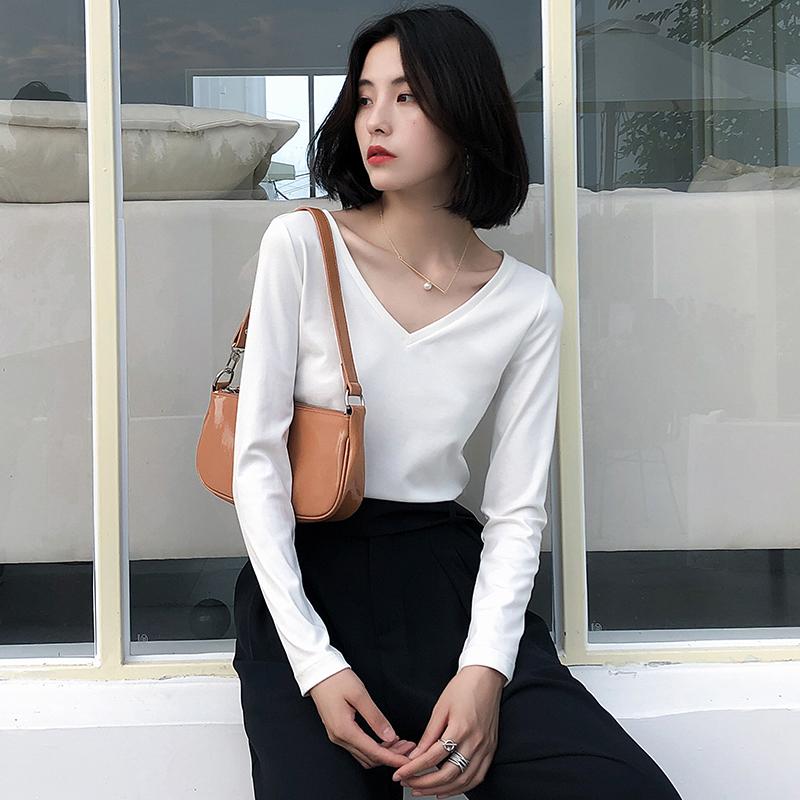 K家长袖t恤女V领2019秋冬新款简约百搭修身显瘦纯白色打底衫上衣