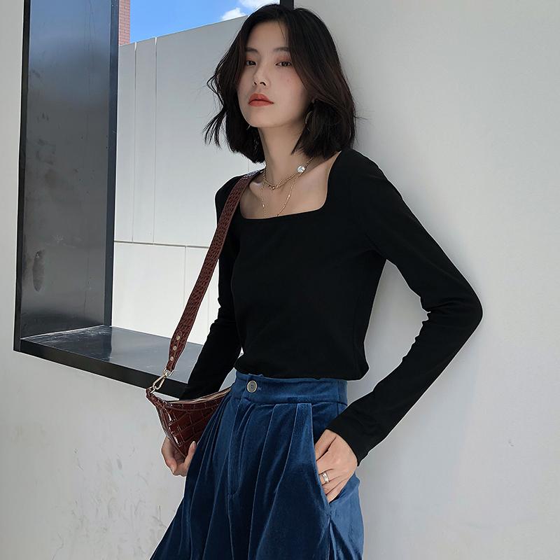 K家针织t恤女长袖2020春装新款方领锁骨黑色修身显瘦打底衫上衣