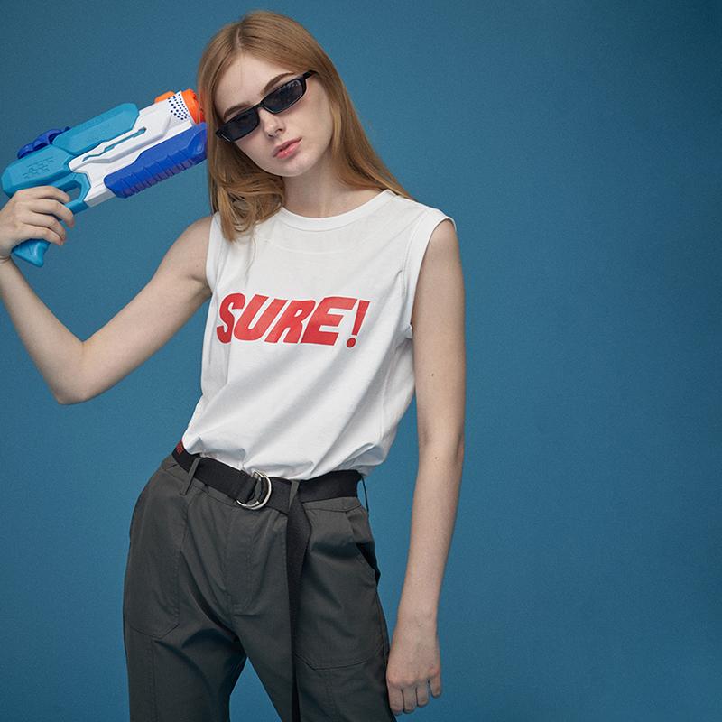 OG元素街头嘻哈白色工字坎肩无袖t恤运动背心女夏季外穿ins潮薄款